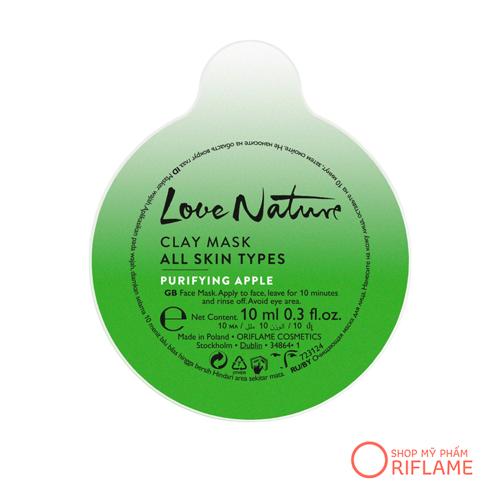 Mặt Nạ Love Nature Clay Mask All Skin Types Purifying Apple 34864